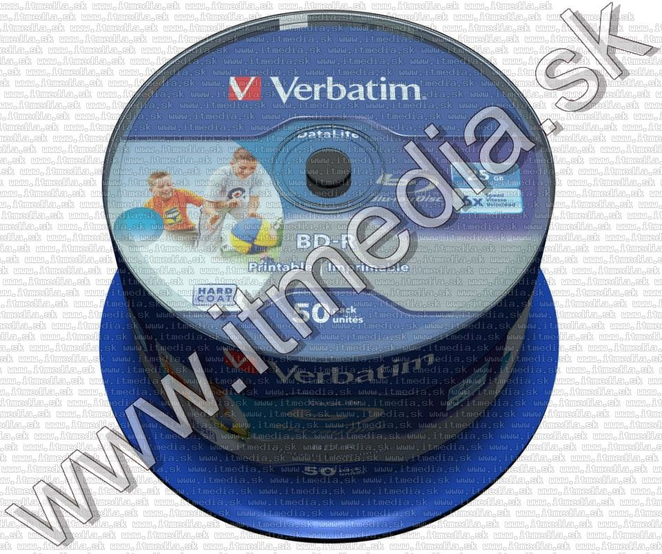 Image of Verbatim BluRay BD-R 6x (25GB) 50cake Fullprint HTL (43812) (IT12883)