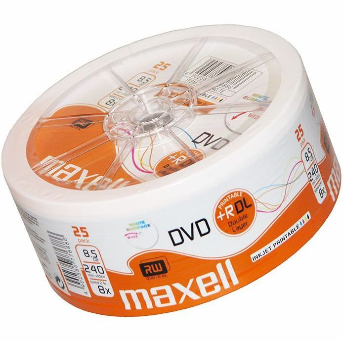Image of MAXELL DVD+R Double Layer 8x 25cw *PRINT* (IT13627)