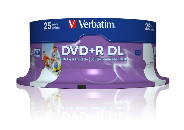 Image of Verbatim DVD+R Double Layer 8x 25cake **PRINT** (43667) *UAE* (IT6339)