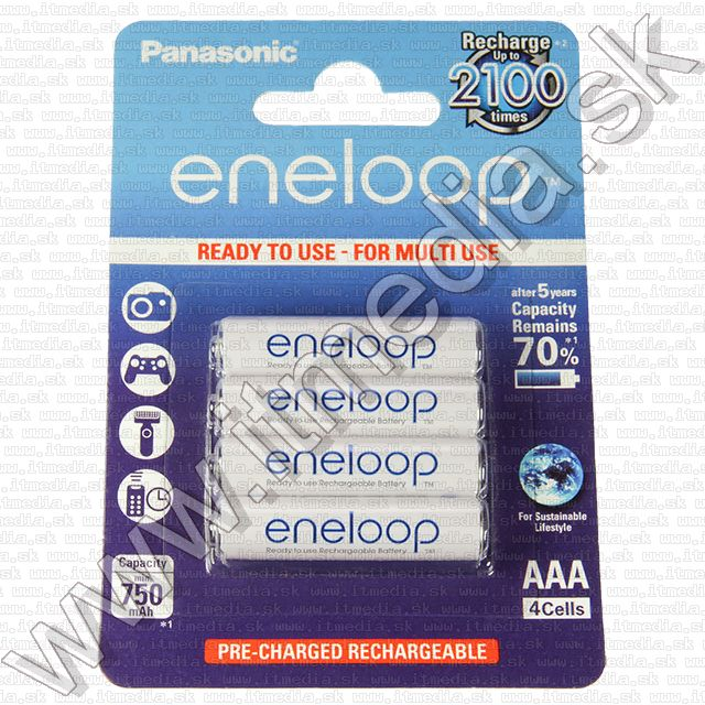 Image of Panasonic Eneloop akku HR03 4x750 mAh AAA *BLISTER* *Ready2Use* (IT9924)