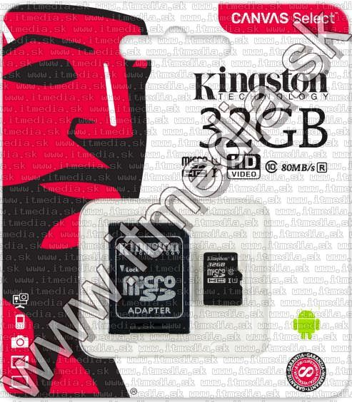 Image of Kingston microSD-HC card 32GB UHS-I U1 Class10 + adapter (80/10 MBps) Canvas Select (IT13465)