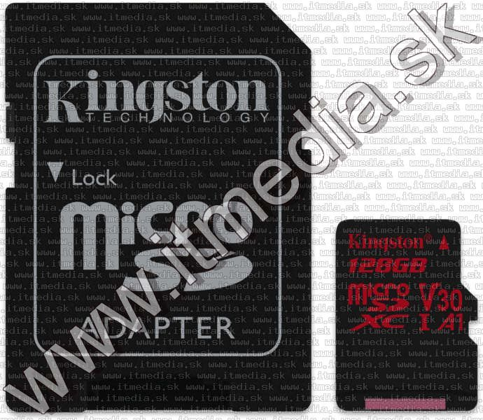 Image of Kingston microSD-XC card 128GB UHS-I U3 Class10 + adapter (100/80 MBps) Canvas React (IT13709)