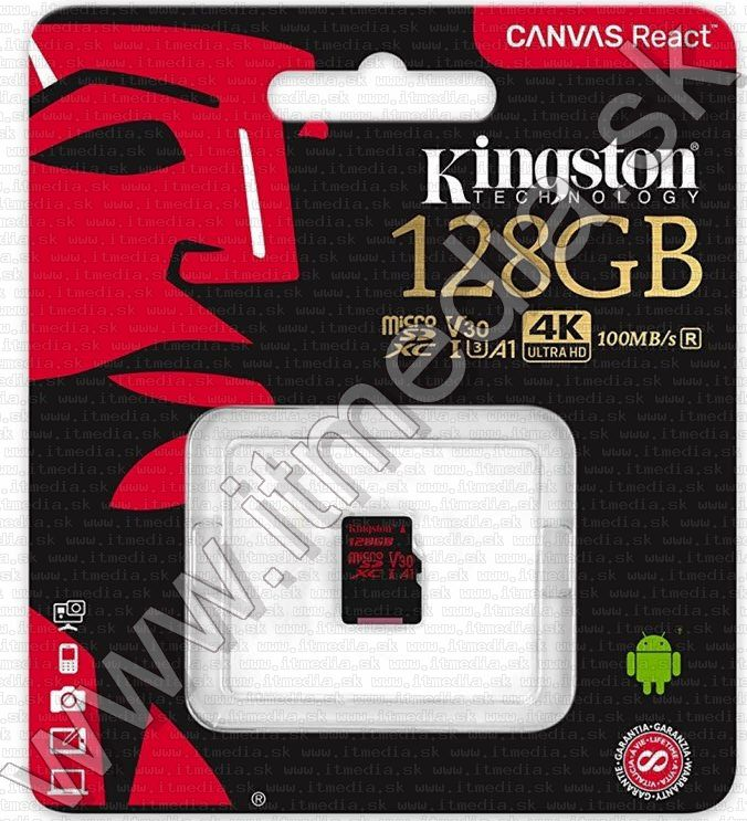 Image of Kingston microSD-XC card 128GB UHS-I U3 Class10 (100/80 MBps) Canvas React (IT13928)