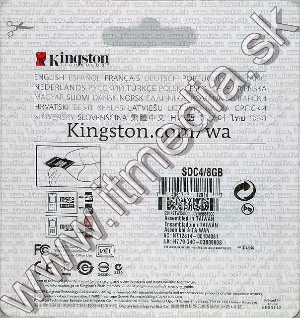 Image of Kingston microSD-HC card 8GB Class4 + adapter (IT3376)