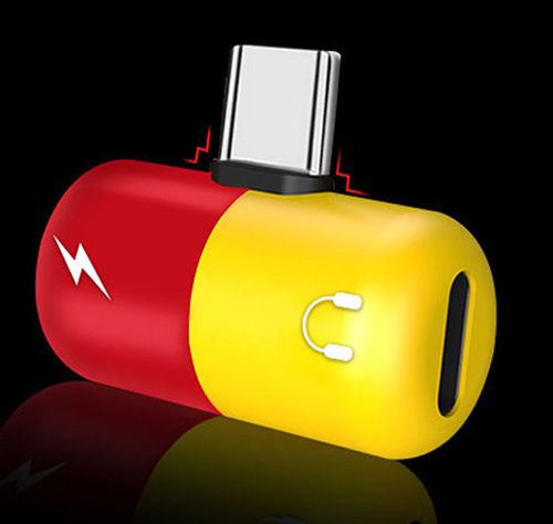 Image of USB-C Headphone Charge adapter *Red-Yellow* INFO! (IT14202)