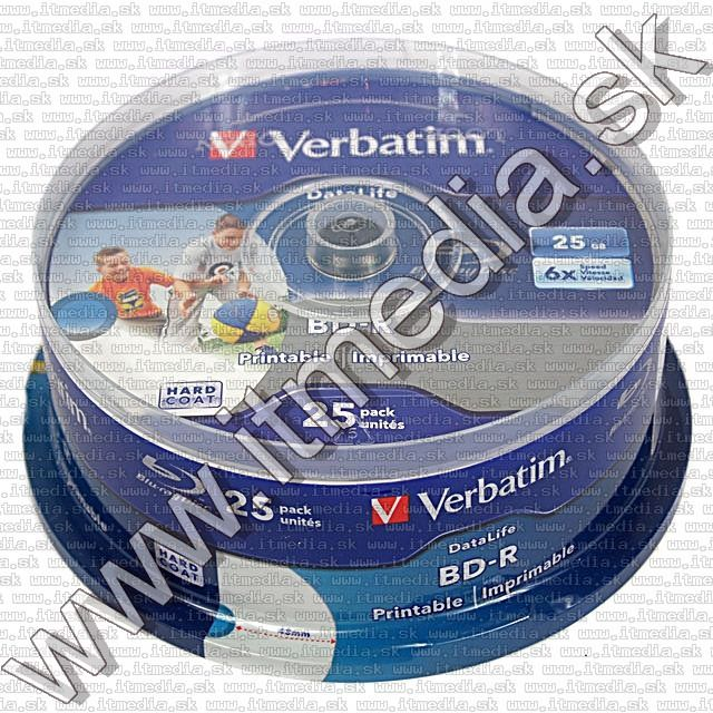 Image of Verbatim BluRay BD-R 6x (25GB) 25cake Fullprint HTL (43811) (IT9275)
